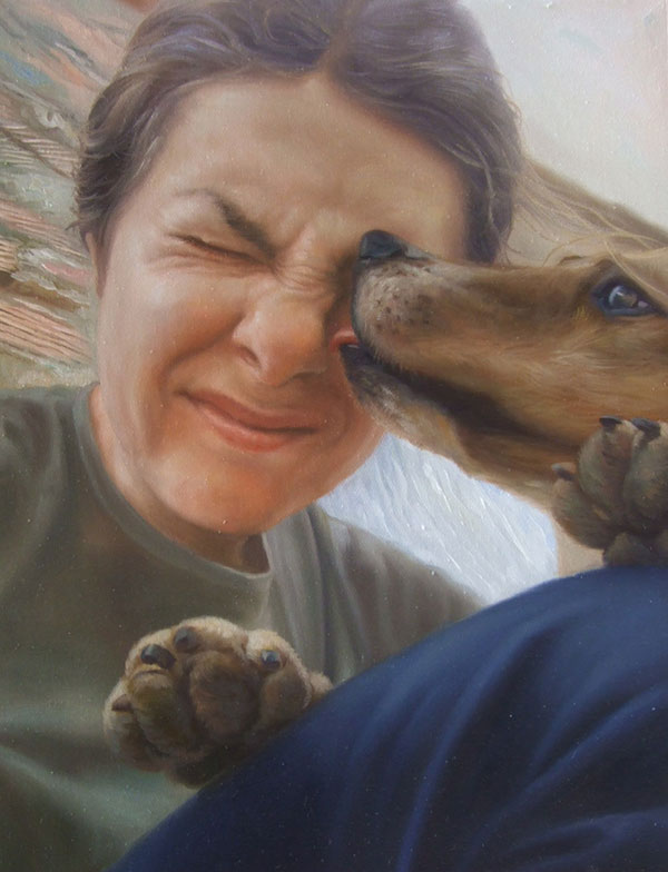 Custom oil painting of dog licking its owner