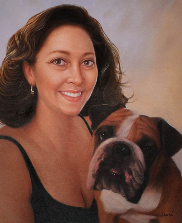 handmade oil painting from photo of woman with dog