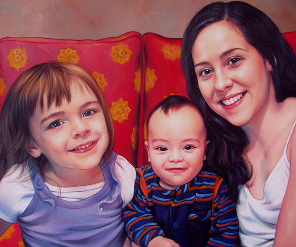 an oil painting of mother and her children