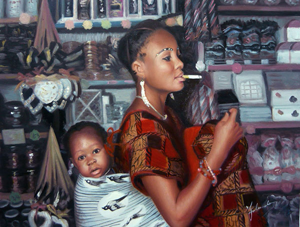 a custom oil painting of black woman carrying her child