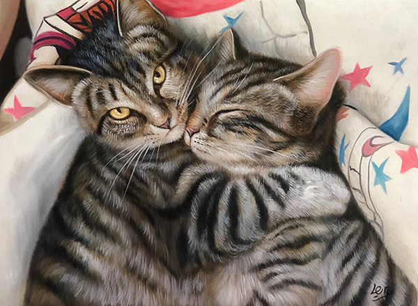 custom oil painting of two striped cats cuddling