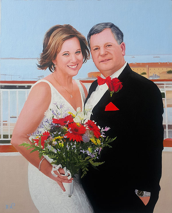 an oil painting of a couple at the wedding with red flowers