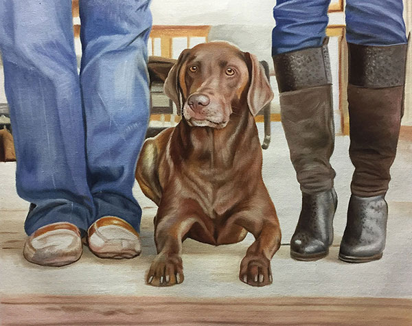 Custom oil painting of a labrador and owners feet