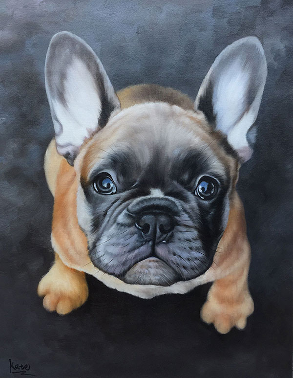 custom dog portrait of a sad dog