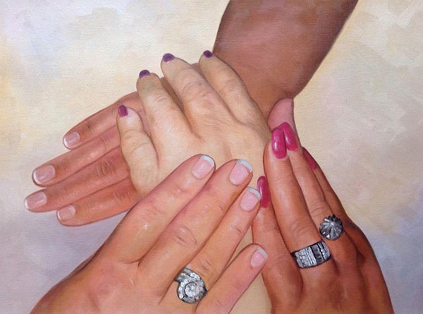 oil painting from photo of 4 woman holding hands