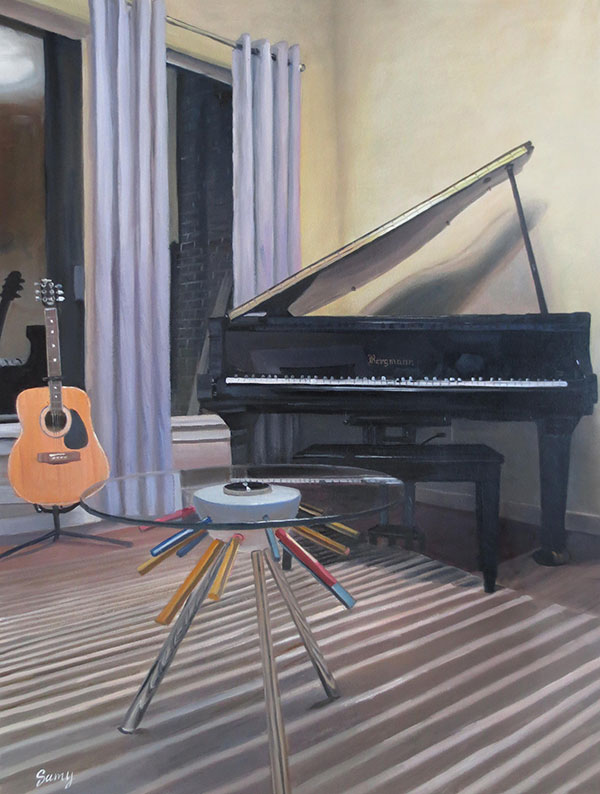 custom oil painting of musicians living room guitar piano
