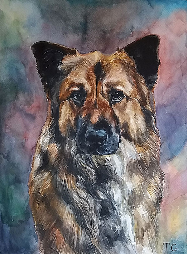custom watercolor painting of a brown dog