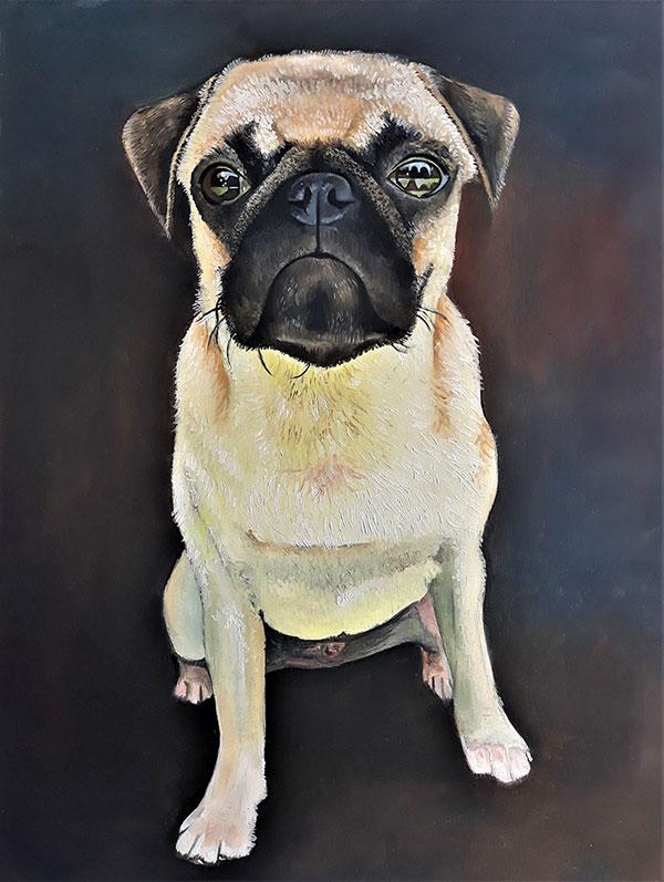 ritratto cane ad olio da fotografia