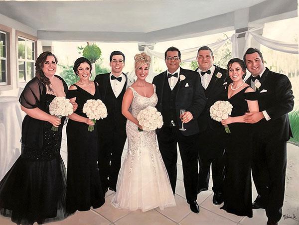 Matrimonio dipinto ad olio da fotografia