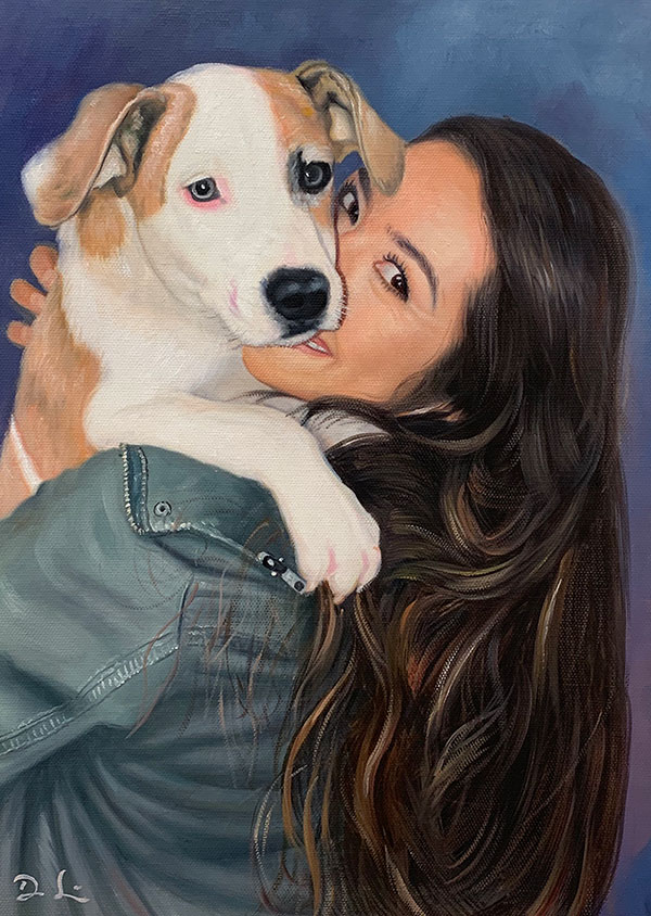 oil painting of woman hugging adorable puppy