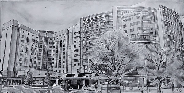 custom pencil drawing of an office building
