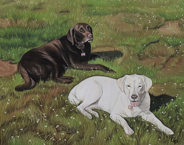 two dogs custom painting