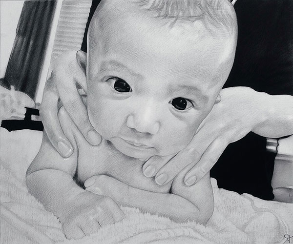child custom charcoal drawing