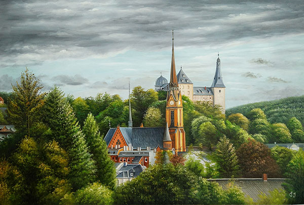 Handmade oil painting of a gothic churche