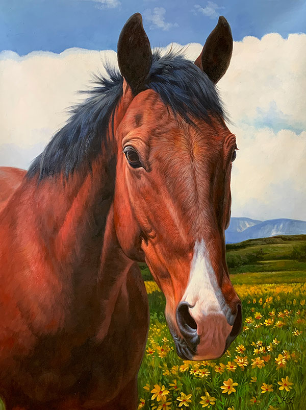Custom oil portrait of a brown horse in a field