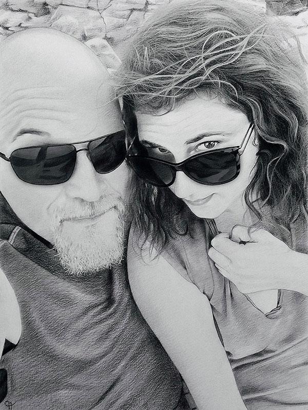 Retrato a carboncillo online, personalizado, pareja