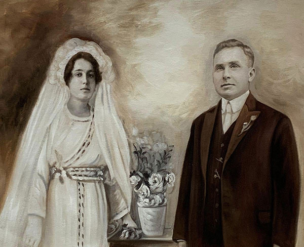 Beautiful vintage oil painting of a just married couple