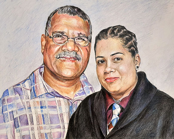 Beautiful color pencil drawing of a father and daughter