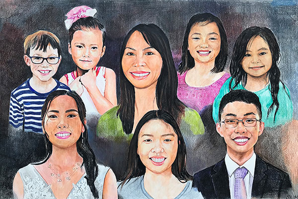 Gorgeous color pencil drawing of a family