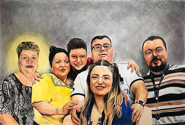 Custom handmade color pencil drawing of a happy family