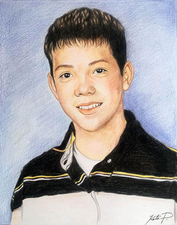 Custom color pencil drawing of a boy