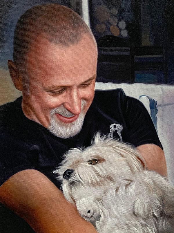 Oil painting of a man with a white dog