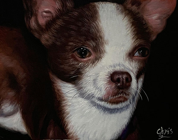artwork of the dog made in oil
