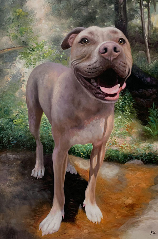 Custom oil painting of a happy pit bull