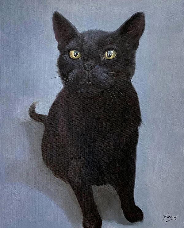 artwork of a black cat in oil