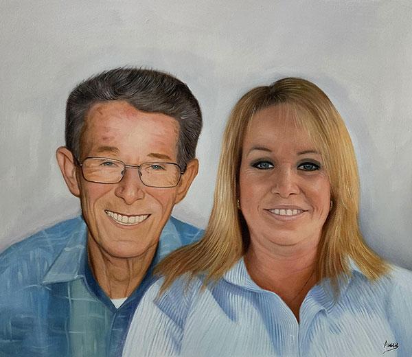 Custom handmade oil painting of a happy couple