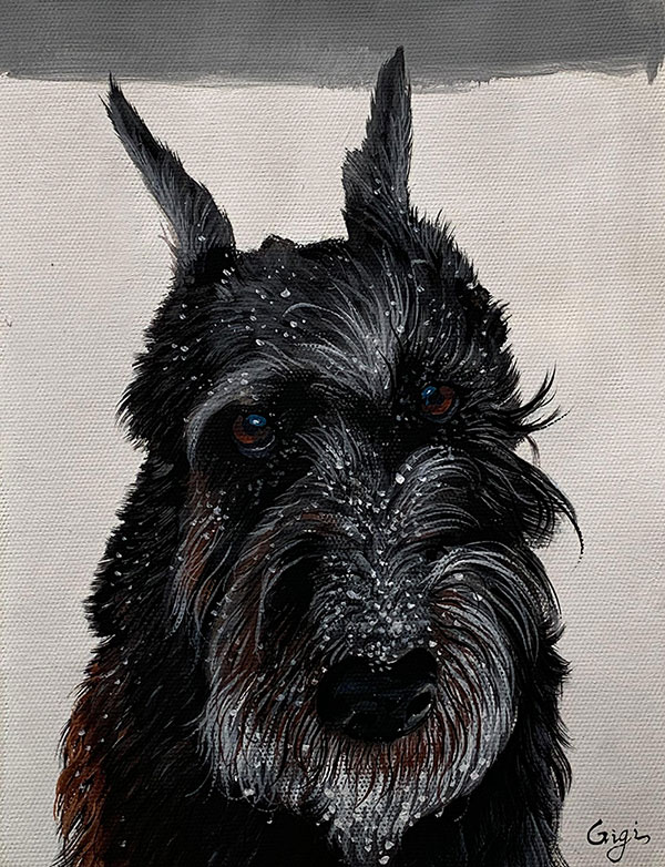picture to pastel portrait black dog