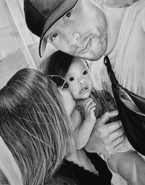 photo to memorable family charcoal drawing new born