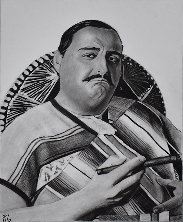 picture to charcoal drawing traditional Mexican man