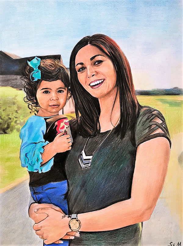 Custom color pencil drawing of a mother and child