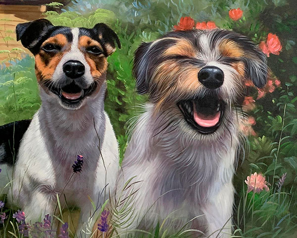 Gorgeous hand drawn oil painting of two dogs