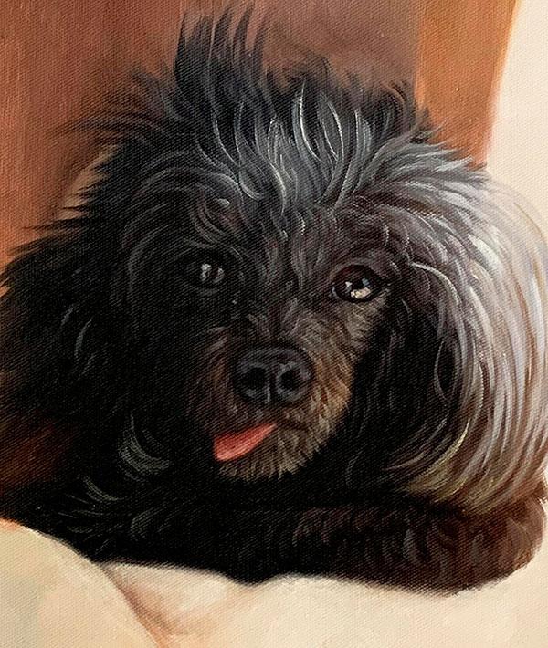 Custom close up oil artwork of a dog
