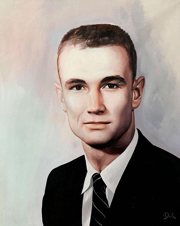 Personalized vintage oil portrait of a man