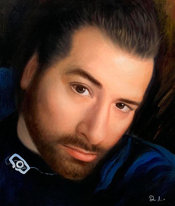 Personalize close up oil portrait of a man