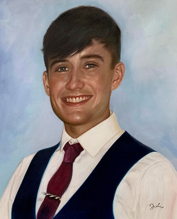 Personalized close up oil portrait of a man