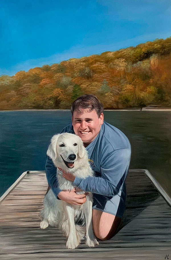 Beautiful oil painting of a man with a dog