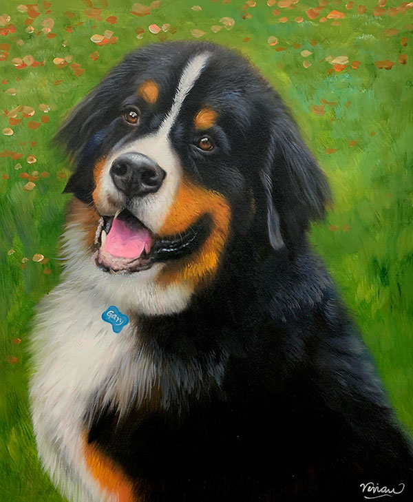 Custom hand drawn oil painting of a dog