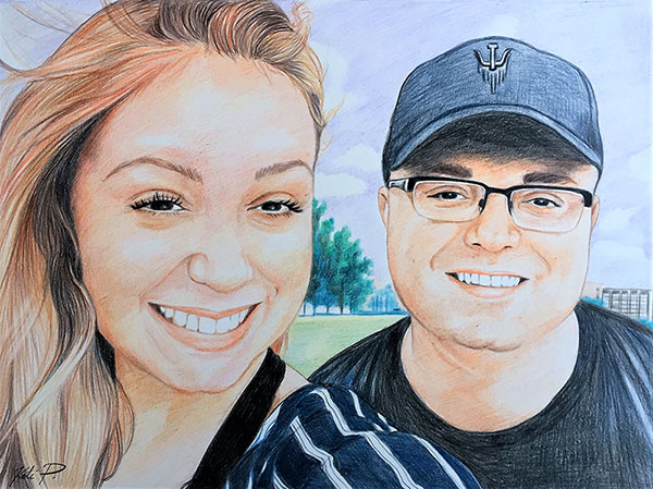 Beautiful color pencil painting of a happy couple