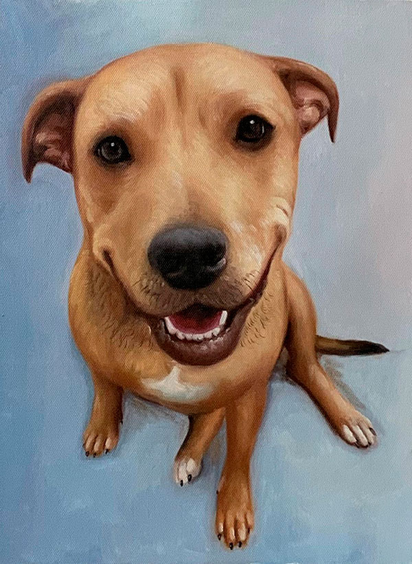 Beautiful close up oil painting of a dog