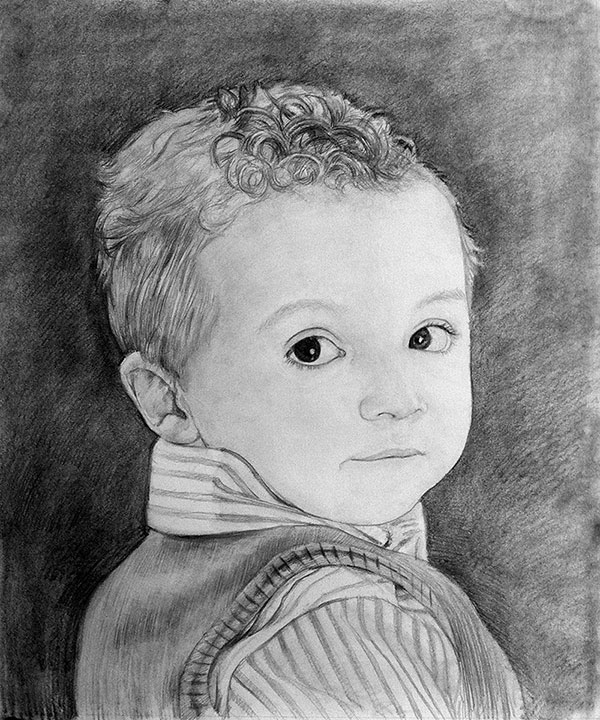 custom pencil drawing of a little boy