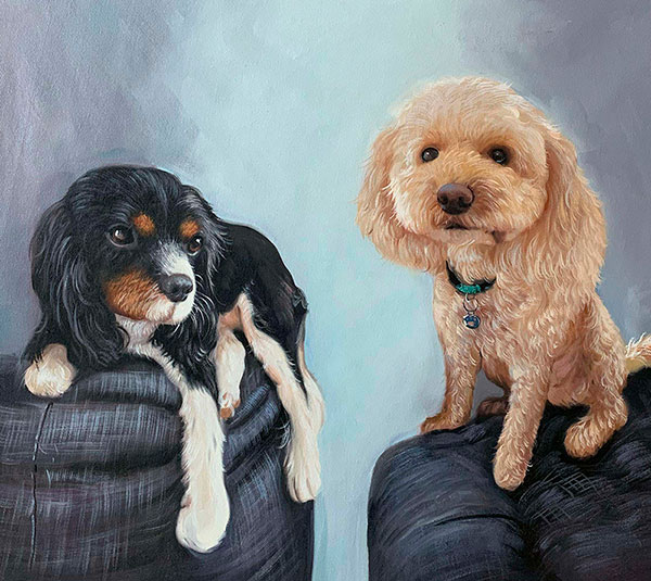 Beautiful handmade oil artwork of two dogs