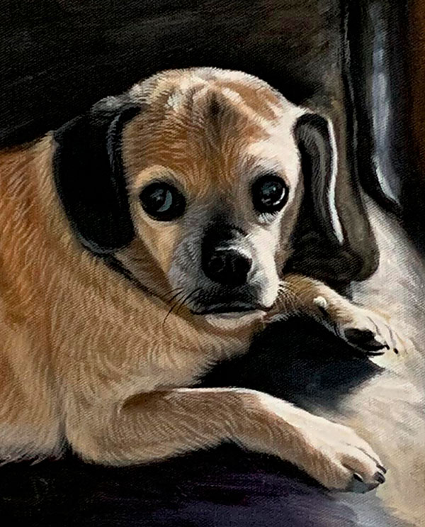 Custom handmade oil painting of a dog