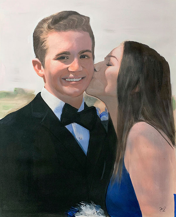 Beautiful pastel painting of a kissing couple