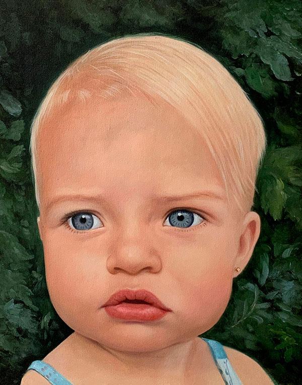 ritratto bambino olio da fotografia
