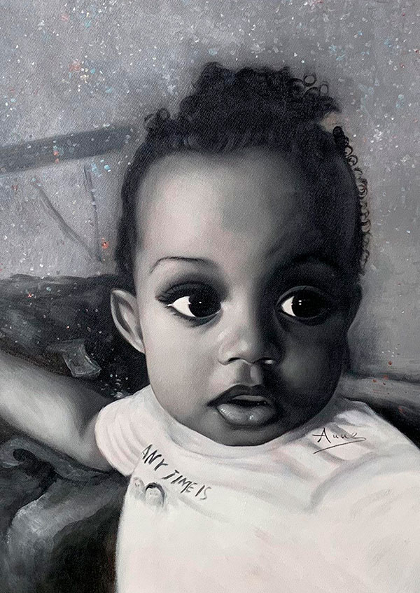 Custom close up oil portrait of a baby