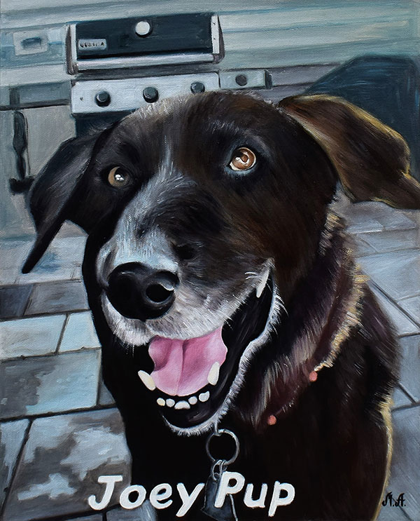 Oil painting of a happy dog